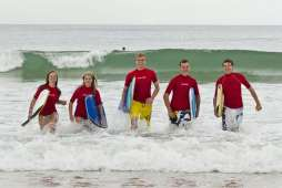 International Students at Keebra Park enjoy surfing